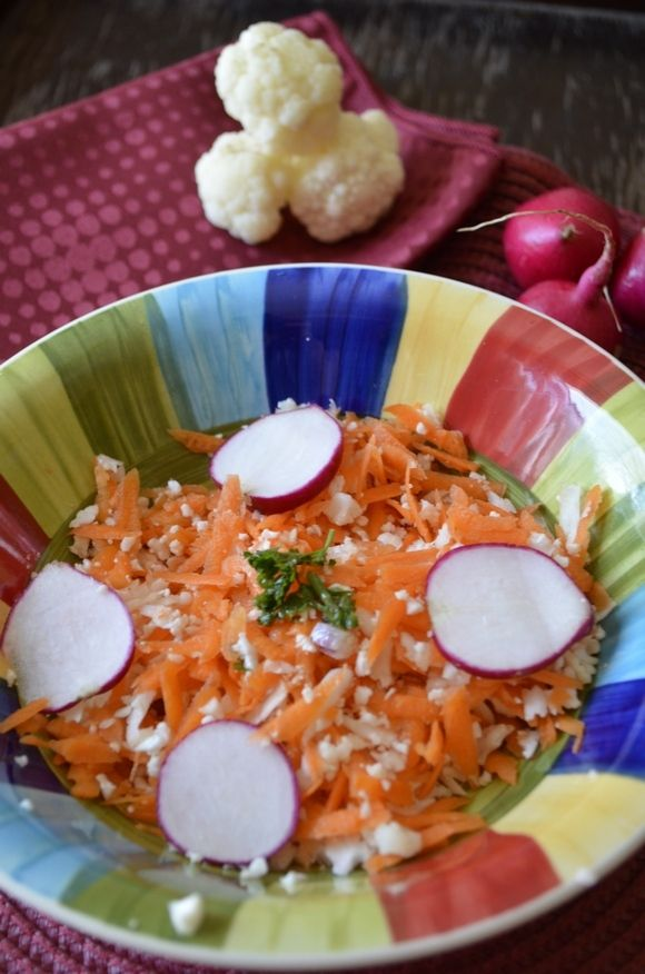 Radish Cauliflower and Carrots: Perfect Camping Salad