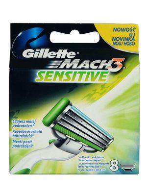 GILLETTE 8szt Mach3 Sensitive Wkłady do maszynki  • redukuje ryzyko podrażnień • skutecznie goli już za jednym pociągnięciem • pasek nawilżający z aloesem • pasuje do maszynek Mach3