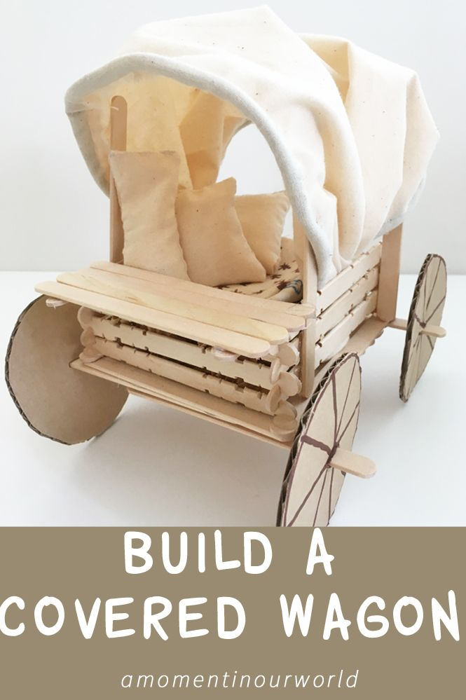 While reading the Little House books, we read about how they travelled in a covered wagon. Here is a covered wagon we made and you can make too!