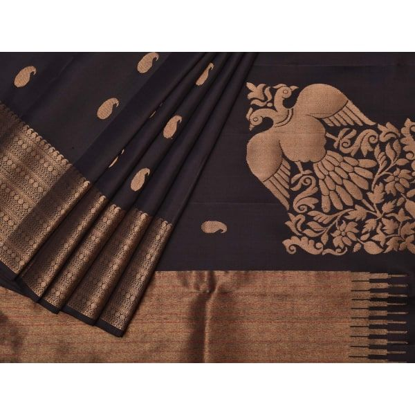 Black Kanchipuram Silk Handloom Saree with Corner Birds Design k0191