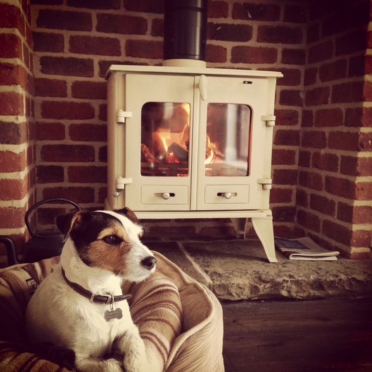 Cream log burner with exposed bricks - our Jack Russell loves sitting as close as possible!!