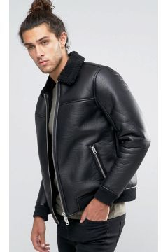 Barneys Faux Leather Bomber With Borg Collar Jacket - Black