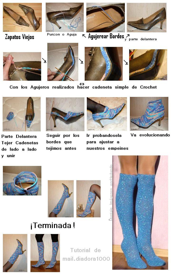 Como+transformar+unos+Zapatos+en+Botas+tejiendolas+a+crochet+2.PNG 719×1.151 píxeles
