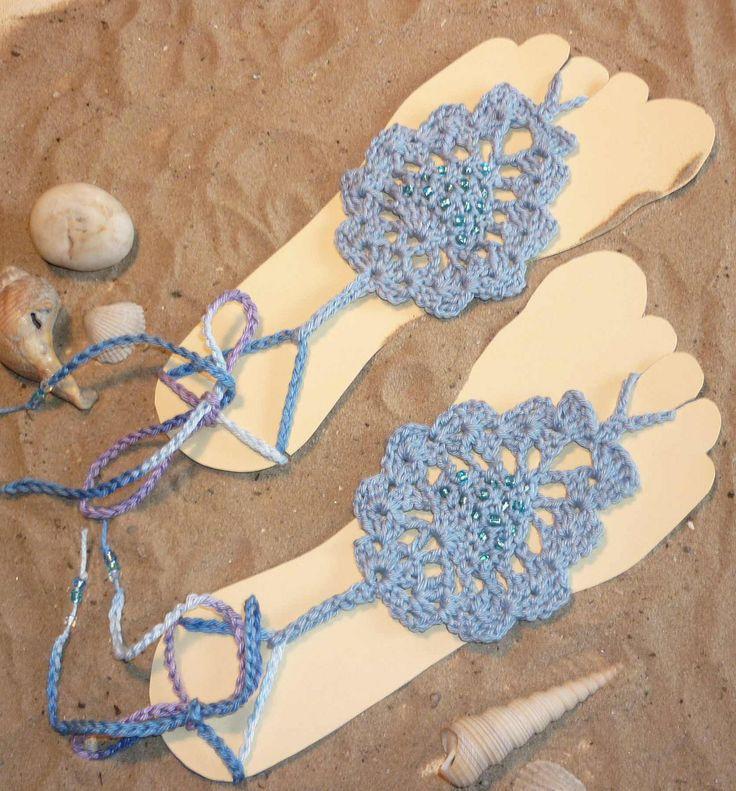 Asombroso Crochet Patrones Sandalias Descalzas Festooning - Manta de ...