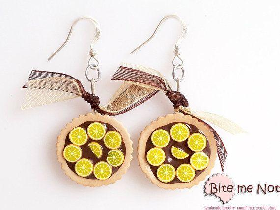 Food Jewelry Choco  Orange Tarts Hook Earrings Mini by BiteMeNot