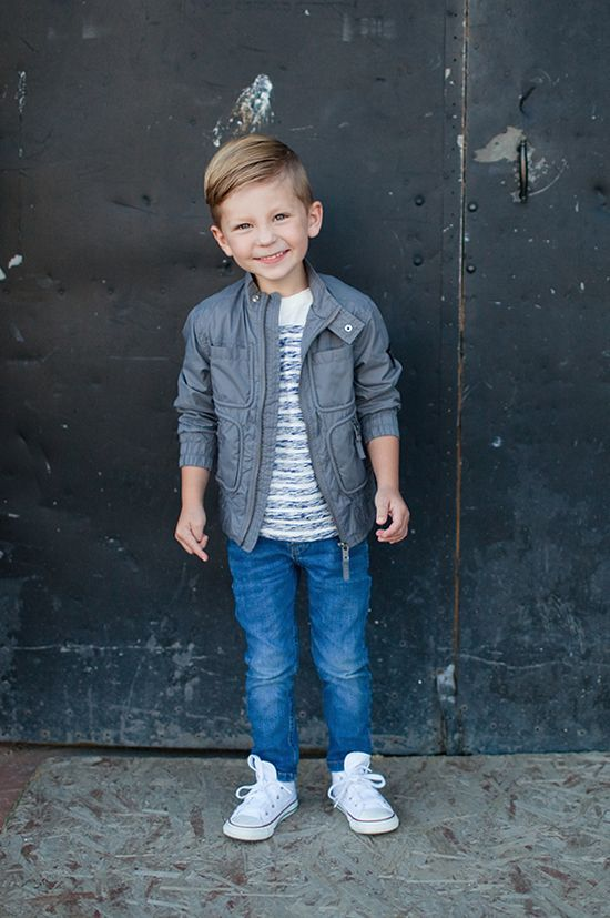 Sweet Little Peanut | Guess Kids. Love this fall look for little boys. Nylon jacket + striped tee + skinny jeans + high tops #boysfashion #boyfashionkidsswag
