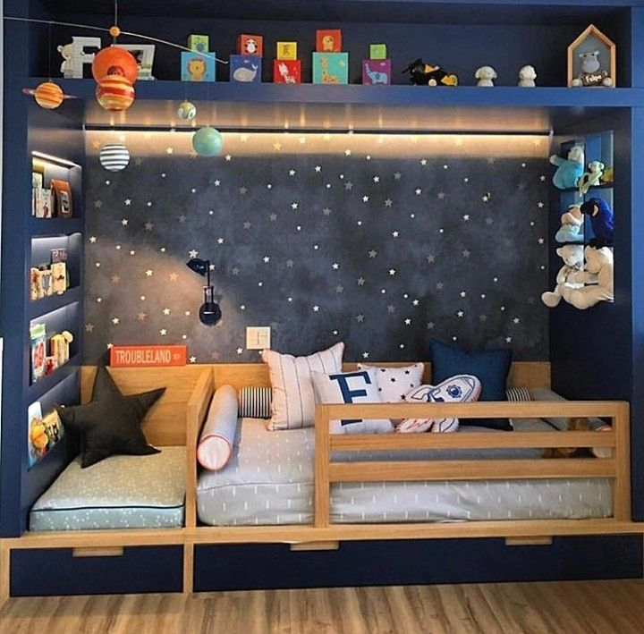 Dreamy Starry Night Themed Kids Room What A Cute Reading Book