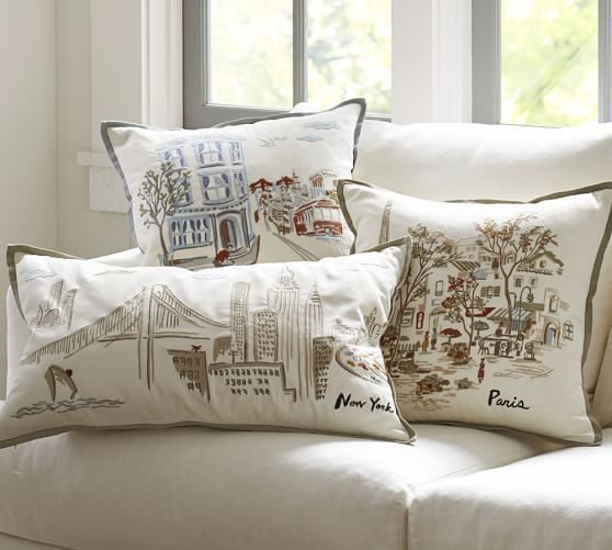 San Francisco Embroidered Pillow Cover | Pottery Barn