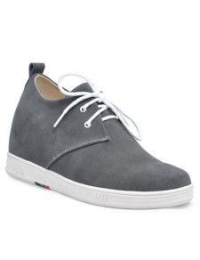 Men's Shoes Gray Front Tie Rubber Suede Men's Taller Shoes