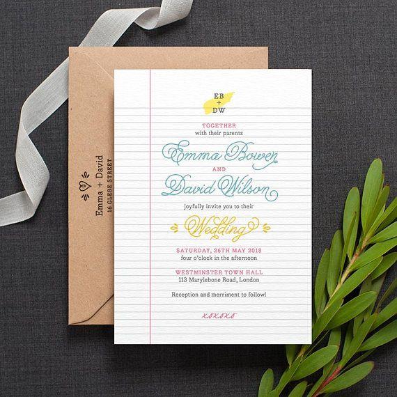 Retro Wedding Invitation / 'School Notebook' with