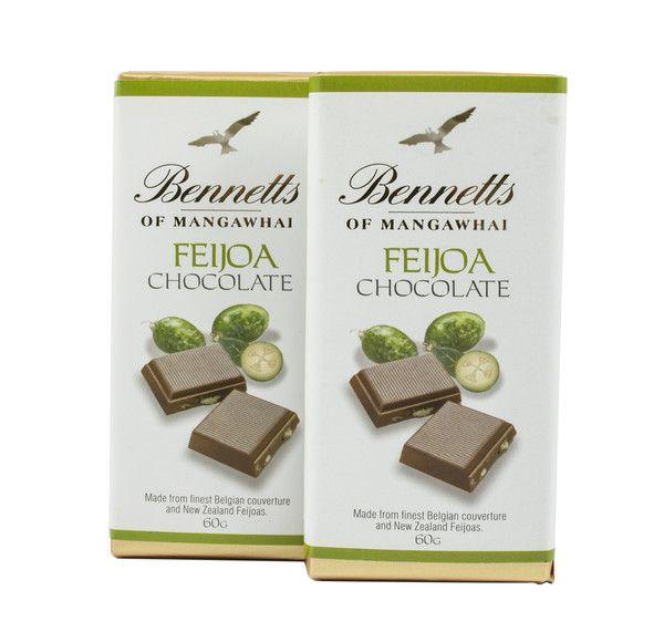 Bennetts of Mangawhai's famous Feijoa bar in milk chocolate.