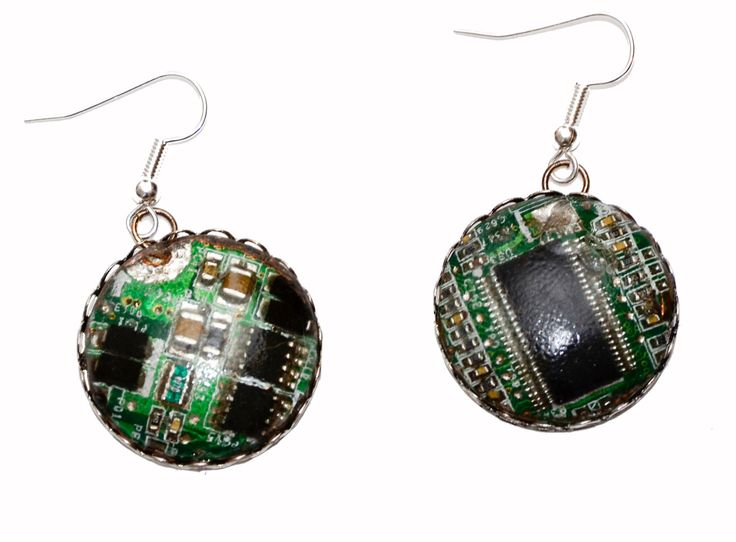 Techie Cyberpunk Circuit Board Earrings. Hand Made in Cornwall, UK by thelongwayround on Etsy