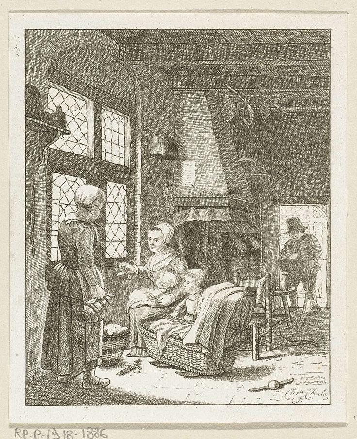 Christina Chalon | Thuiskomst van vader, Christina Chalon, 1758 - 1808 | Interieur van een keuken. Op de voorgrond een moeder met haar twee kinderen. Ze geeft juist de baby een lepel pap. Haar zoontje staat naast de wieg. Een meid komt een kruik aanbrengen. Op de achtergrond komt de vader van het gezin door de deur gestapt.