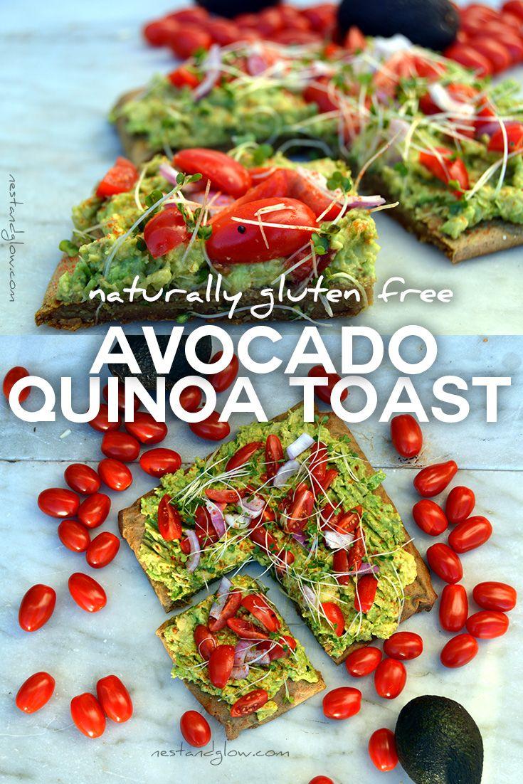 Avocado quinoa toast recipe - easy to make and naturally gluten free, top with smashed avocado for amazing gluten-free avocado toast. via @nestandglow