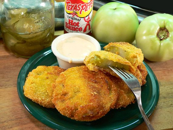 Fried Green tomatoes.  I added chipotle to the flour with salt. We salted when cooked, but was too much.