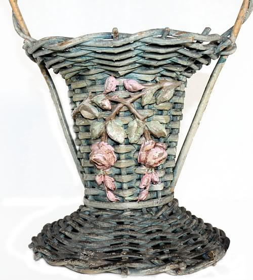 Shabby Aqua Pink Barbola Gesso Roses Flower Basket