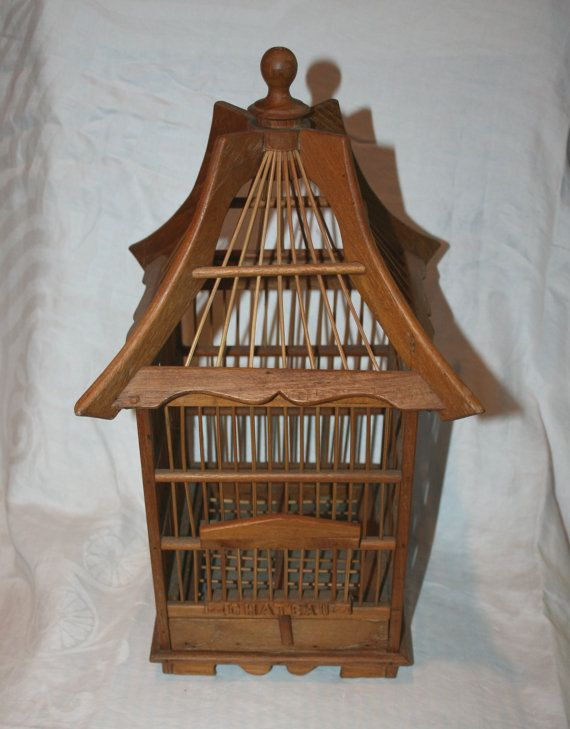 "Vintage wooden Pagoda ""Chateau"" BIRD CAGE"