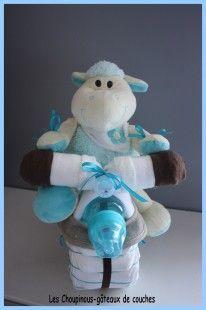 Moto gâteau de couches mouton bleu cadeau naissance baptême  : Jeux, peluches, doudous par les-choupinous sur ALittleMarket