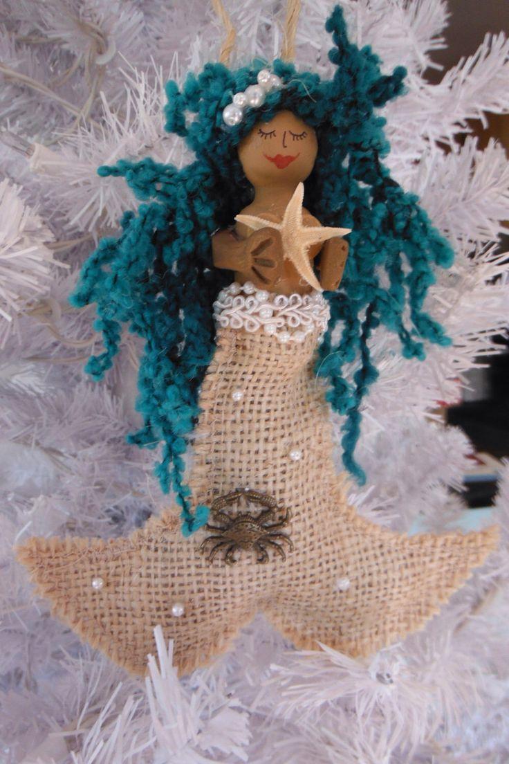 mermaid ornament, Christmas ornament, holiday gift, mermaid, nautical, mermaid decor, Christmas gift, starfish, nautical ornament by FantaSeaStudio on Etsy https://www.etsy.com/listing/491689845/mermaid-ornament-christmas-ornament