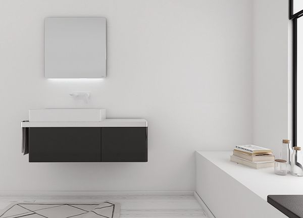 The storage elements of Structure collection are locked in to a structure that keeps it all together making space for the towels to hang and create a generous appearance of the entire piece. #bathroom #furniture