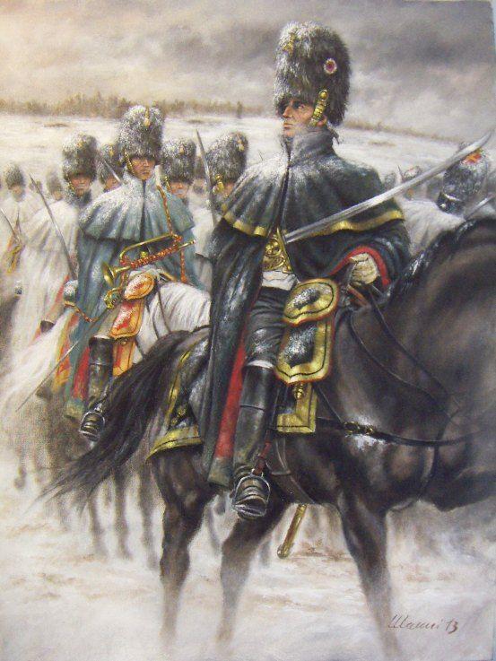 Hommes du Colonel Lepic Ufficiale, trombettiere e granatieri a cavallo della Guardia, Campagna d'Inverno 1806 – 1807. Tributo ad Edouard Detaille
