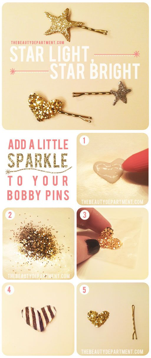 DIY Glitter Bobby Pins via The Beauty Department
