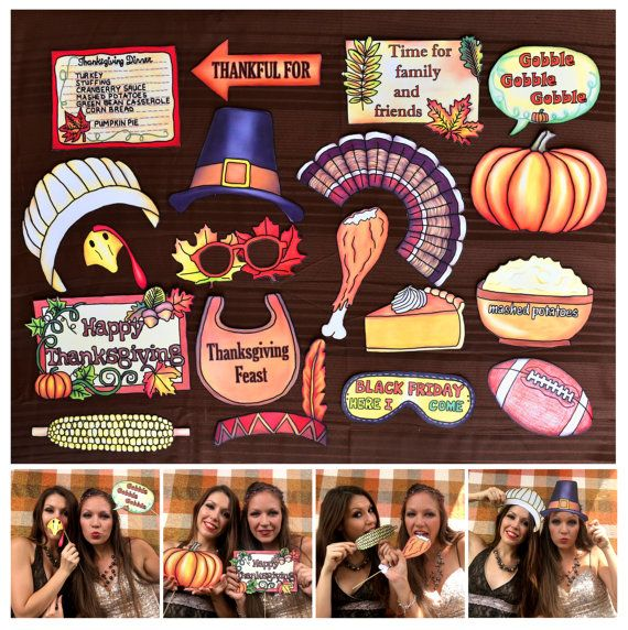 festive Thanksgiving photo booth props  perfect for your
