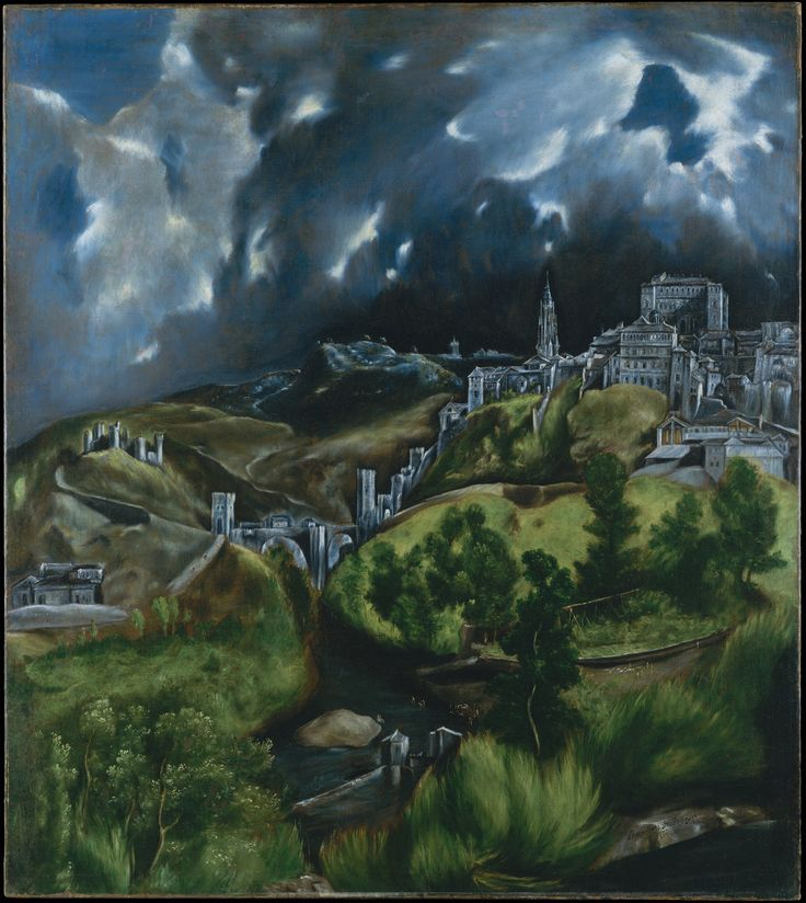 View of Toledo, is one of the two surviving landscapes painted by El Greco. The other, View and Plan of Toledo lies at Museo Del Greco, Toledo, Spain. Wikipedia Artist: El Greco Dimensions: 1′ 7″ x 1′ 5″ Location: Metropolitan Museum of Art Media: Oil paint Created: 1596–1600 Period: Mannerism