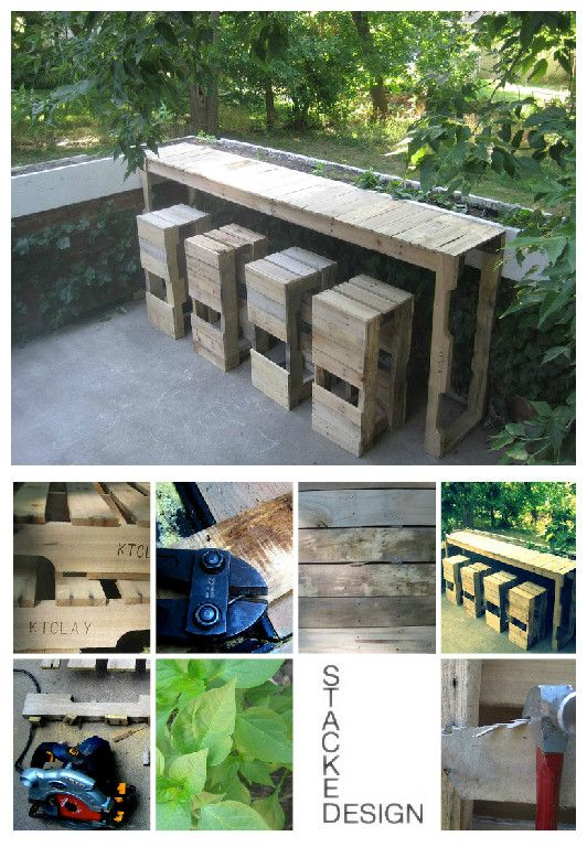 Garden pallets bar and stools made by Pablo Enrique Banuelos, you can find all the steps of this realization on his websiteStacked Design!