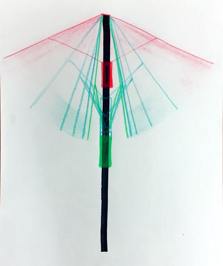우산을 펴고접을때 옆에서본 움직임을 선으로 표현