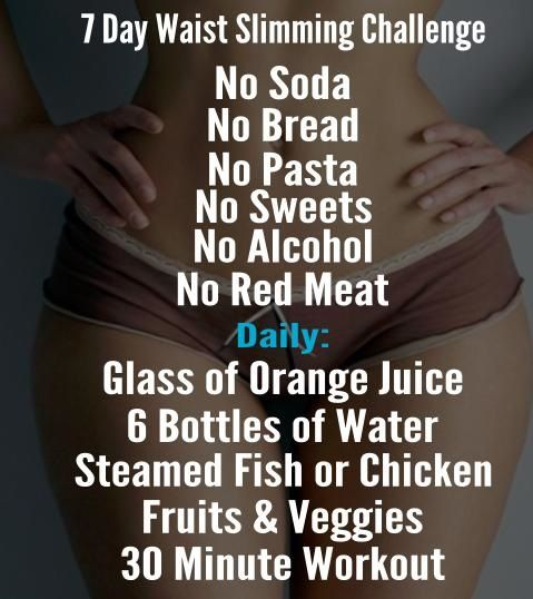 Checklist: 7 days waist slimming challenge Every lady wants an hourglass figure but are you up for the challenge? This is an intense no-frills week long challenge that should only be done by veterans. If you really want to see results try to complete this without cheating! Photo credit: healthynights.com For 7 Days: No soda or carbonated drinks. Now or little bread. No pasta No Sweets (Candy chocolate cookies brownies processed artificial junk foods) No Alcohol No Red Meat Daily ...