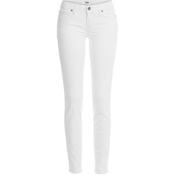 Paige Skyline Skinny Jeans (275 CAD) ❤ liked on Polyvore featuring jeans, pants, bottoms, skinny leg, white, women, zipper skinny jeans, paige denim skinny jeans, white super skinny jeans and tapered jeans