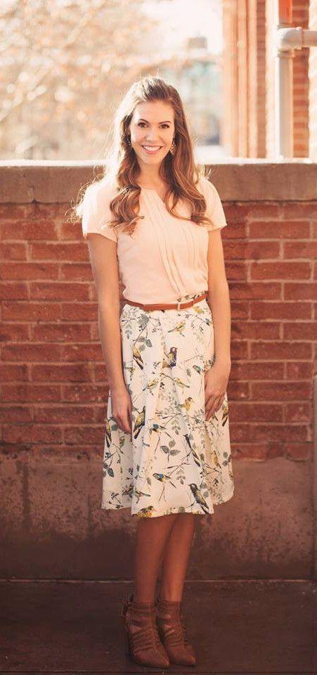 Modest skirt, knee length, Bird print, Skirt with Birds