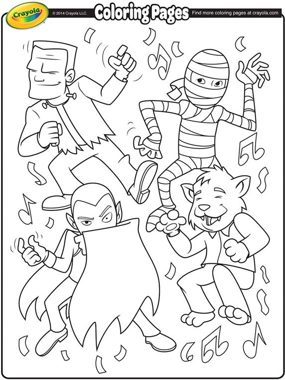 halloween monster dance party frankenstein mummy dracula werewolf coloring worksheetsfree coloring pagescoloring