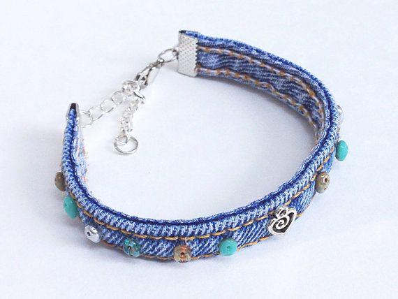 Bracelet de denim vert Turquoise argent par EverydayWomenJewelry