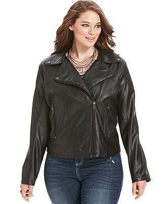 """Okay - It's """"pleather"""", but... fits great, feels nice... """"It's VEGAN! Couldn't resist!  Dollhouse Plus Size Jacket, Faux-Leather Motorcycle - Plus Size Jackets & Blazers - Plus Sizes - Macy's"""