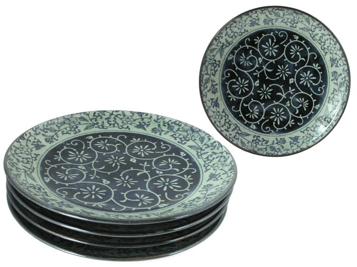 Rustic Dark Green Blue and Cream Karakusa Dinner Plate Set for Four  sc 1 st  Pinterest & The 83 best Chinese or Japanese Plates images on Pinterest ...