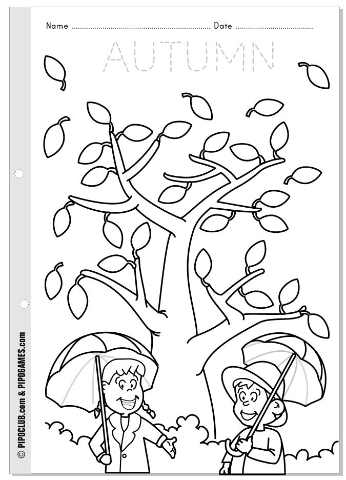Worksheet about autumn for kids from Pipo's blog #coloring #preschool #kinder…