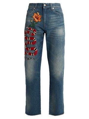 Snake-appliqué low-slung boyfriend jeans  | Gucci | MATCHESFASHION.COM US