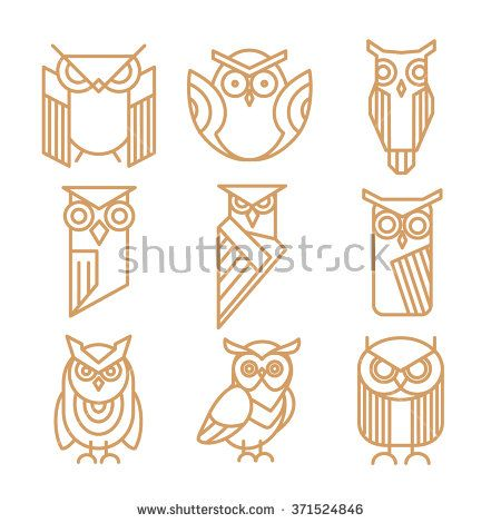Owl line logos, emblems and labels vector set. Owl logo, bird owl art, insignia owl logotype illustration