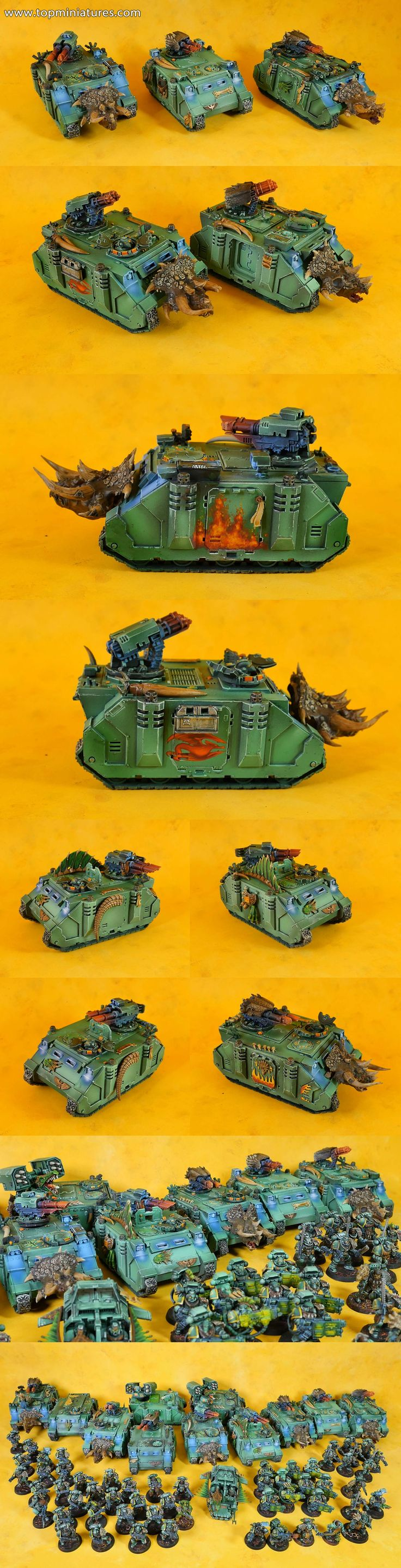 Warhammer 40k salamanders space marines razorback converted & with freehands