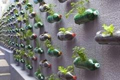 jardinera en la pared con botellas plásticas