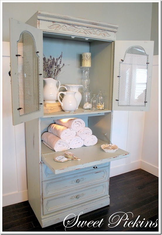 Re-purposed hutch/pull down desk - use for plants and outside dishes