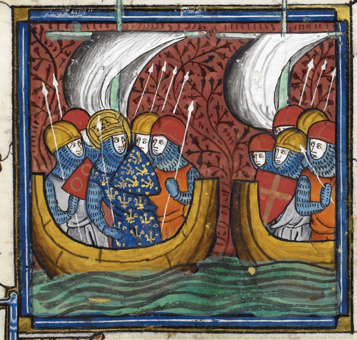 Detail of a miniature of Louis IX sailing off on his second crusade, from the Chroniques de France ou de St Denis, France (Paris), after 1332 and before 1350