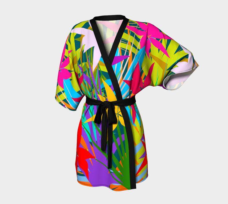 Tropical Foliage Kimono Robe