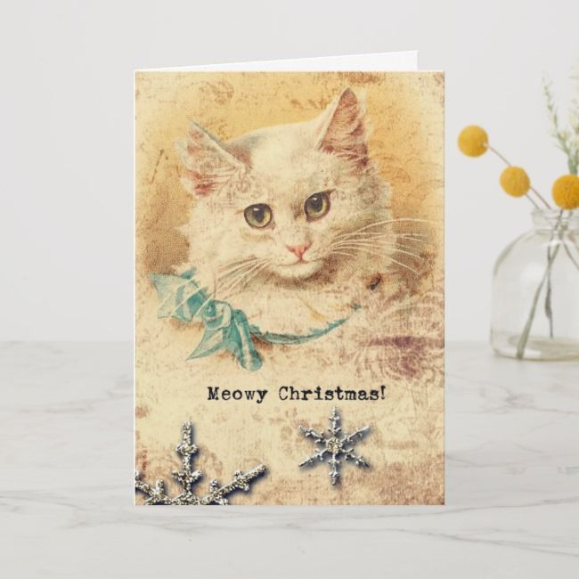 vintage christmas kitty holiday card  zazzle in 2020