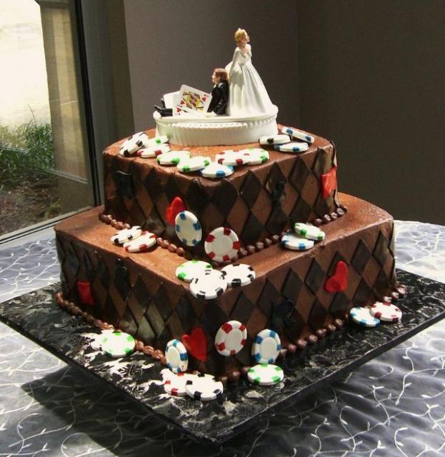 Two Tier Chocolate Poker Theme Wedding Cake: Casino Themed Wedding Cake Toppers