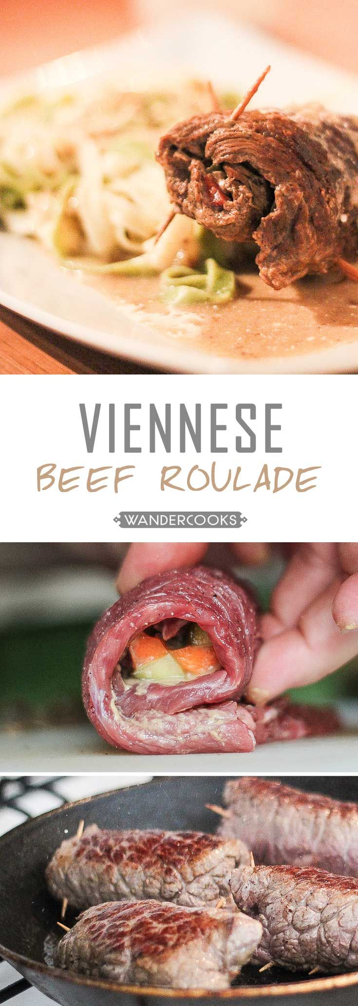 Viennese Beef Roulade - Steaming goodness, drowned in a creamy gravy and accompanied by al dente tagliatelle. | wandercooks.com