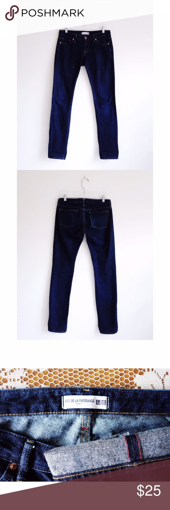 """Ines de la Fressange Uniqlo Selvedge Slim Jeans 26 Ines de la Fressange x Uniqlo Dark Wash Selvedge Slim Skinny Jeans size 26 x 33, gently used--no rips, stains, or holes, low rise, five pocket styling, slim straight cigarette leg, red selvedge outseam, 100% cotton, 16-16.5"""" across waist, 8"""" front rise, 33.5"""" inseam, 13"""" leg opening Uniqlo Jeans Straight Leg"""