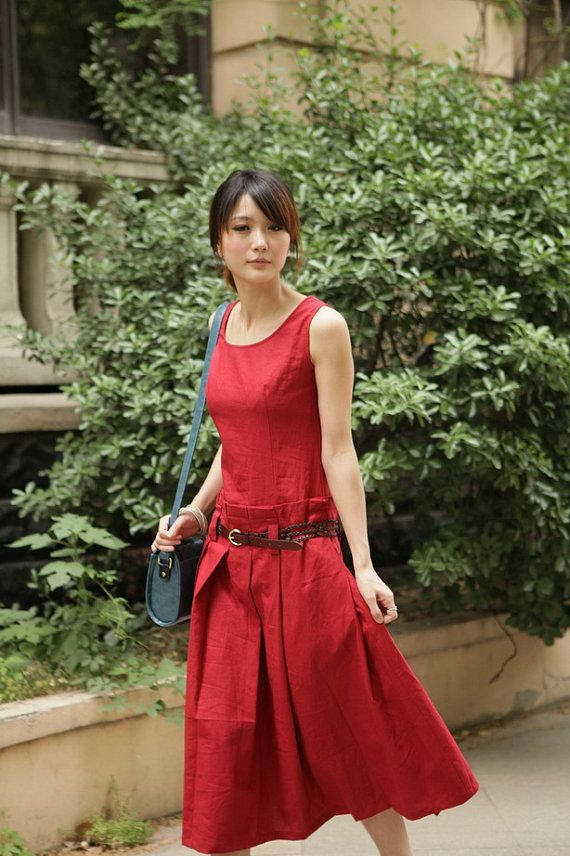 Simple wind Rose Red long sundress(more colour and size choice)